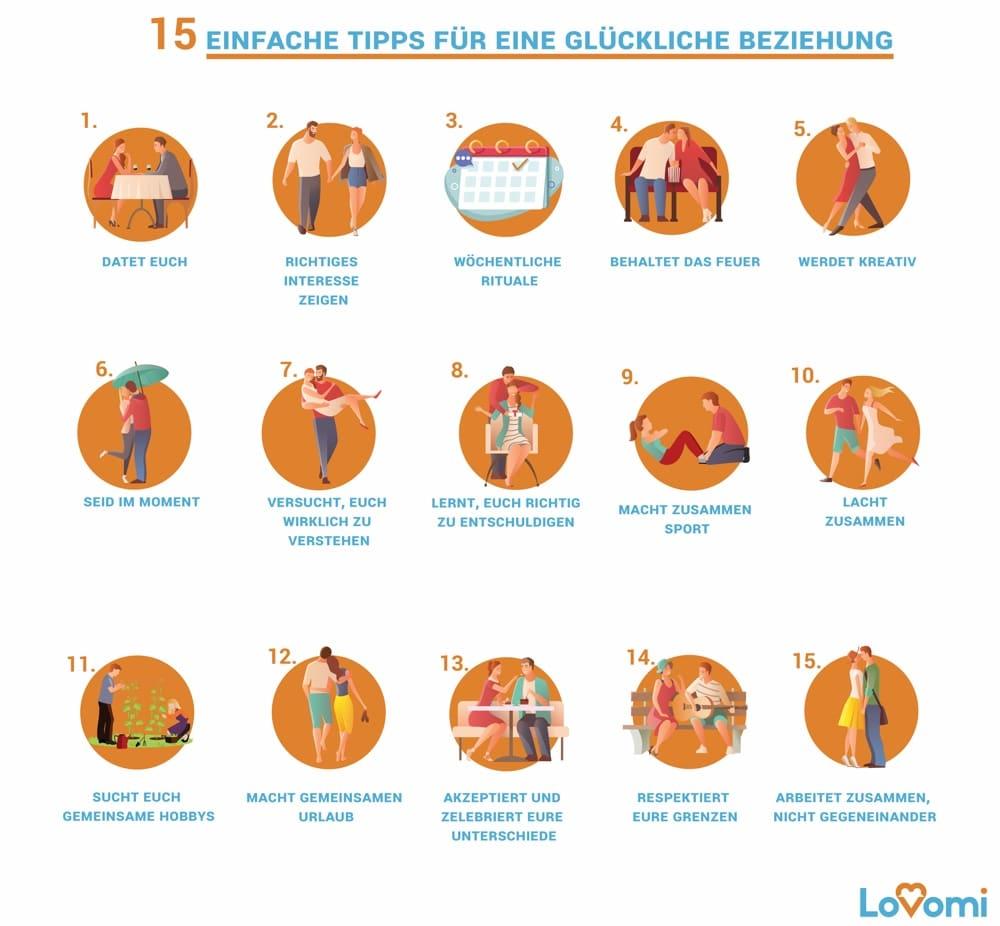 15 Tipps fuer eine glückliche Beziehung Infografik